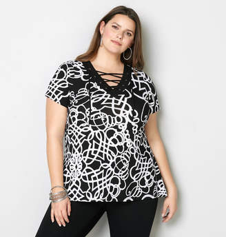 Avenue Scribble Lace Up Swing Top