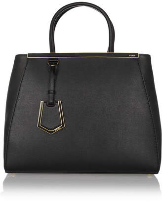 Fendi 2jours Medium Textured-leather Tote - Black