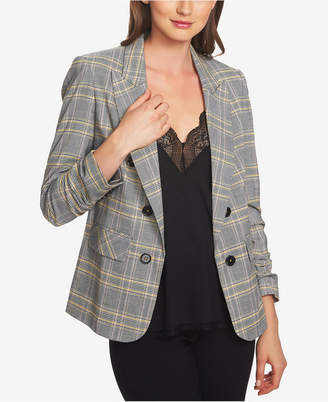 1 STATE 1.state Ruched-Sleeve Plaid Blazer