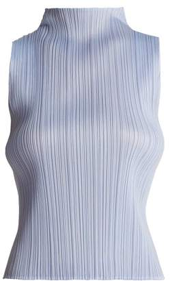 Pleats Please Issey Miyake High Neck Pleated Top - Womens - Light Blue