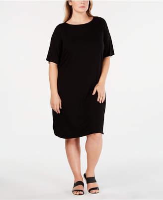 Eileen Fisher Plus Size Boat-Neck Dress
