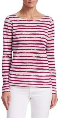 Majestic Filatures Vintage Stripe Button-Back Tee