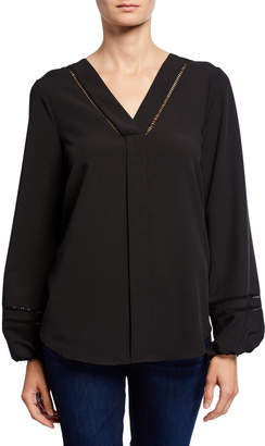 Neiman Marcus V-Neck Long-Sleeve Crepe Tunic with Crochet Trim