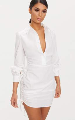 PrettyLittleThing Ruched Side Fitted Shirt Dress