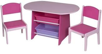 Gift Mark Children's Oval Table with 2 Chairs and 2 Storage Bins, Multiple Colors