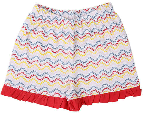 White & Red Zigzag Ruffle-Hem Shorts - Newborn & Infant