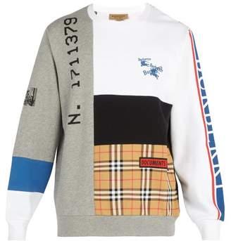 Burberry Patchwork Crew Neck Cotton Sweatshirt - Mens - Grey