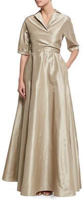 Lela Rose Half-Sleeve Faux-Wrap Gown
