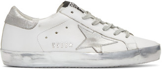 Golden Goose White & Silver Superstar Sneakers $495 thestylecure.com