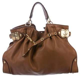 Miu Miu Belted Leather Tote Brown Belted Leather Tote