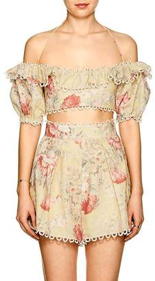 Zimmermann Women's Melody Floral Linen-Cotton Crop Top