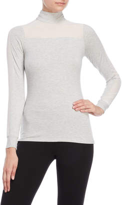 Karen Millen Mixed Media Mock Neck Top