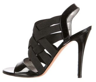 Casadei Patent Leather Multi-Strap Sandals $95 thestylecure.com
