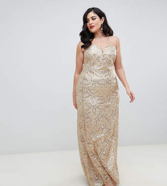 TFNC Plus patterned sequin bandeau maxi dress in gold