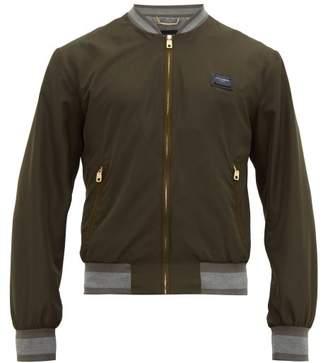 Dolce & Gabbana Nylon Logo Plaque Bomber Jacket - Mens - Khaki