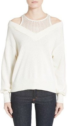 Women's T By Alexander Wang Cotton Blend Sweater With Inner Tank $325 thestylecure.com