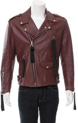 Mixed Media Leather Moto Jacket