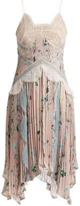 Self-Portrait Lace-insert floral-print pleated dress