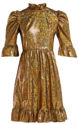 Batsheva - Ruffle Trimmed Lame Mini Dress - Womens - Gold