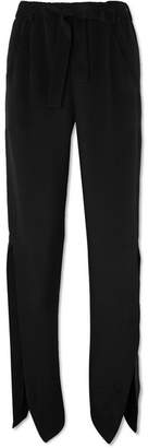 Askern Silk-marocain Straight-leg Pants - Black