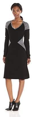 Calvin Klein Women's Long-Sleeve Blocked V-Neck Dress