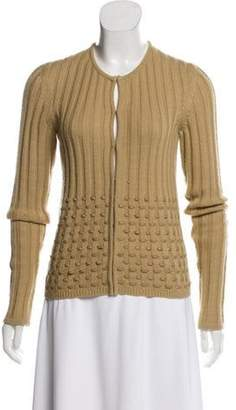 Gianni Versace Leather-Accented Wool Cardigan Nude Leather-Accented Wool Cardigan