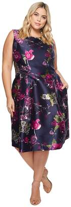 Tahari ASL Plus Size Mikado Floral Print Sleeveless Tea Length Women's Dress