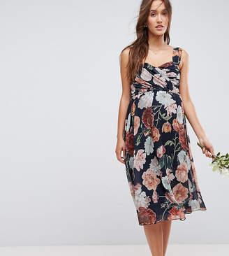 Asos WEDDING Floral Chiffon Sweetheart Midi Dress
