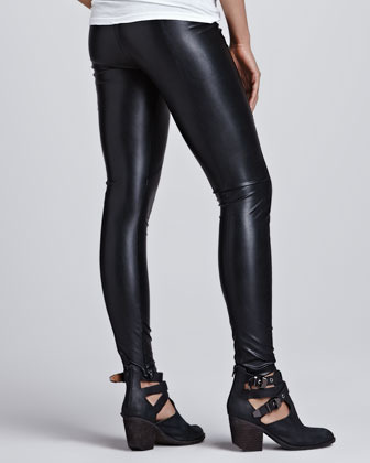David Lerner Seamed Vegan-Leather Leggings