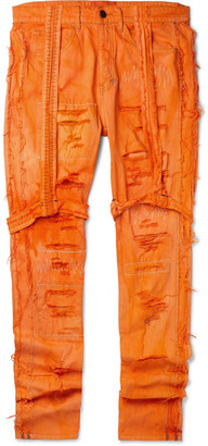 Ev Bravado Skinny-Fit Strap-Detailed Distressed Denim Jeans