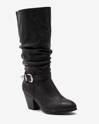 Penningtons Slouchy High Heel Boot with Western Buckle - Sue