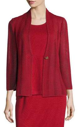 Misook Subtly Sheer Textured Single-Button Jacket, Petite