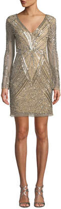 Parker Janette Metallic Bead Short Dress