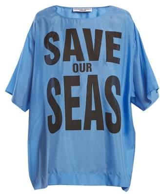 Katharine Hamnett Save Our Seas Print Silk T Shirt - Womens - Blue