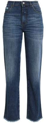 ALEXACHUNG Faded Mid-Rise Straight-Leg Jeans
