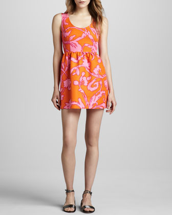 Julie Brown Printed Sleeveless Fit-and-Flare Dress