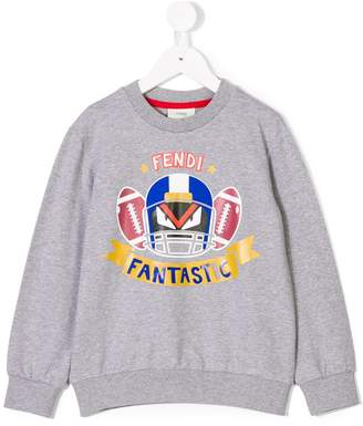 Fendi Bag Bug football print sweatshirt