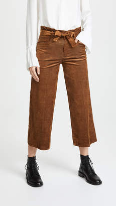 Paige Sutton Cropped Paperbag Corduroy Pants