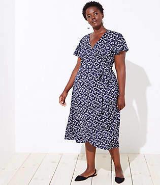 LOFT Plus Vine Flutter Wrap Dress