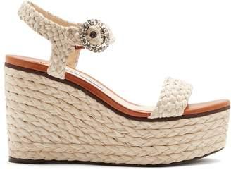 Jimmy Choo Nylah 100 crystal-buckle raffia platform sandals