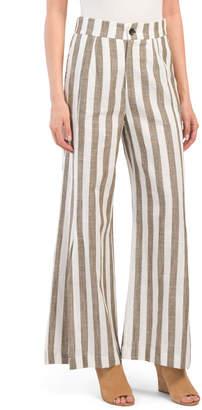 Juniors Linen Blend Lux Stripe Pants