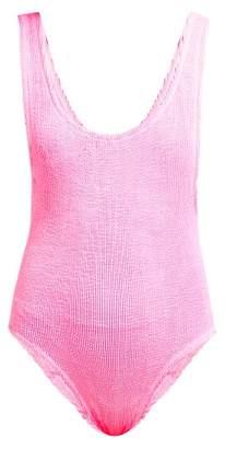 Reina Olga Ruby Scrunch Crinkle Low Back Swimsuit - Womens - Pink
