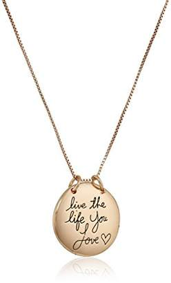 "Rosegold Sterling Silver Rose-Gold Flashed""Live The Life You Love"" Circle Pendant Necklace"