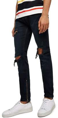 Topman Ripped Stacker Stretch Skinny Fit Jeans