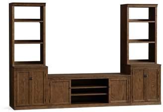Pottery Barn Logan Media Suite with Door Bookcase, Hewn Oak