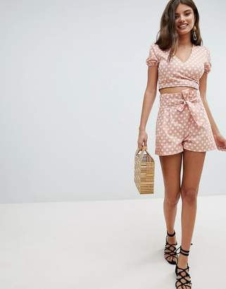 Missguided Polka Dot Tie Waist Shorts