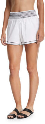 Neiman Marcus Kisuii Gal Smocked Poplin Coverup Shorts