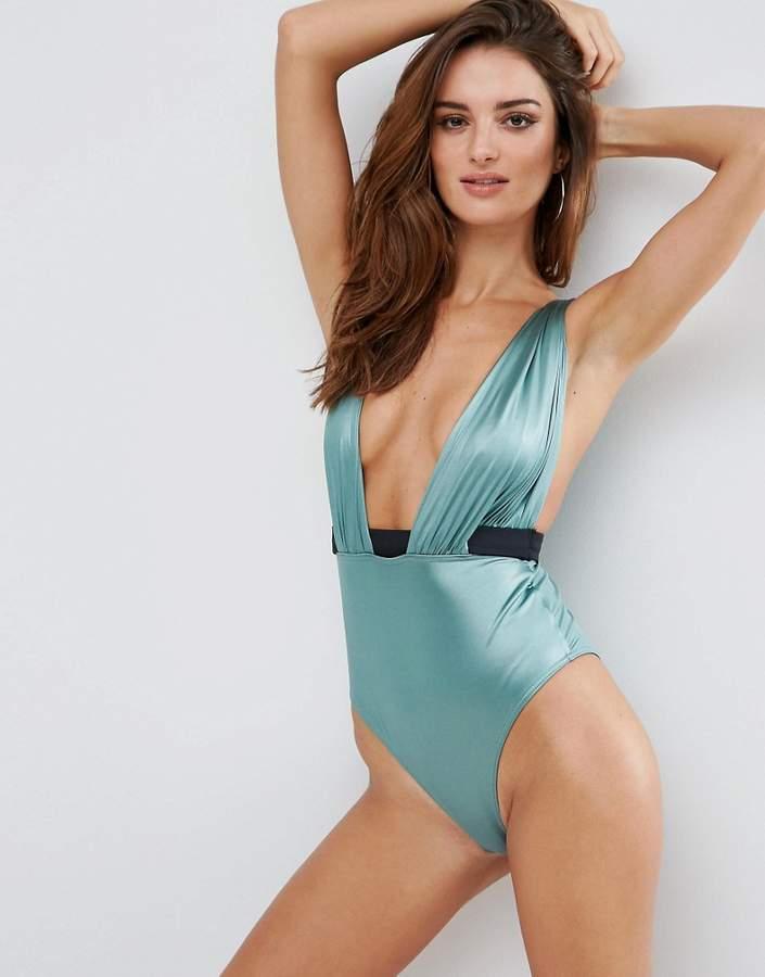 ASOS Glam Satin Plunge Drape Swimsuit