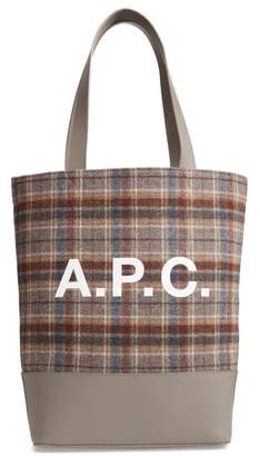 A.P.C. Cabas Axel Plaid Felt & Leather Tote