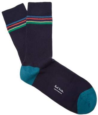 Paul Smith - Striped Rib Knit Cotton Blend Socks - Mens - Navy